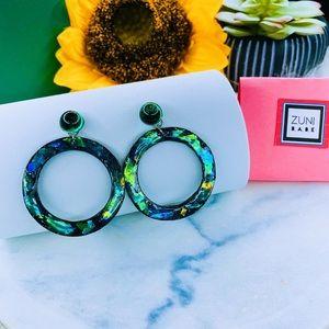 Resin hoops earrings green neon look